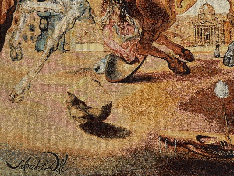 French Salvador Dali Tapestry, Battle Around a Dandelion For Sale