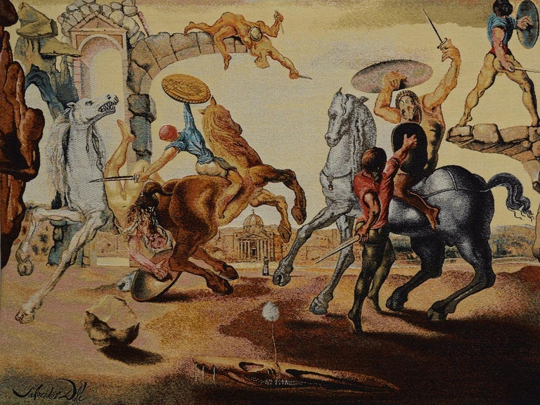 Fabric Salvador Dali Tapestry, Battle Around a Dandelion For Sale