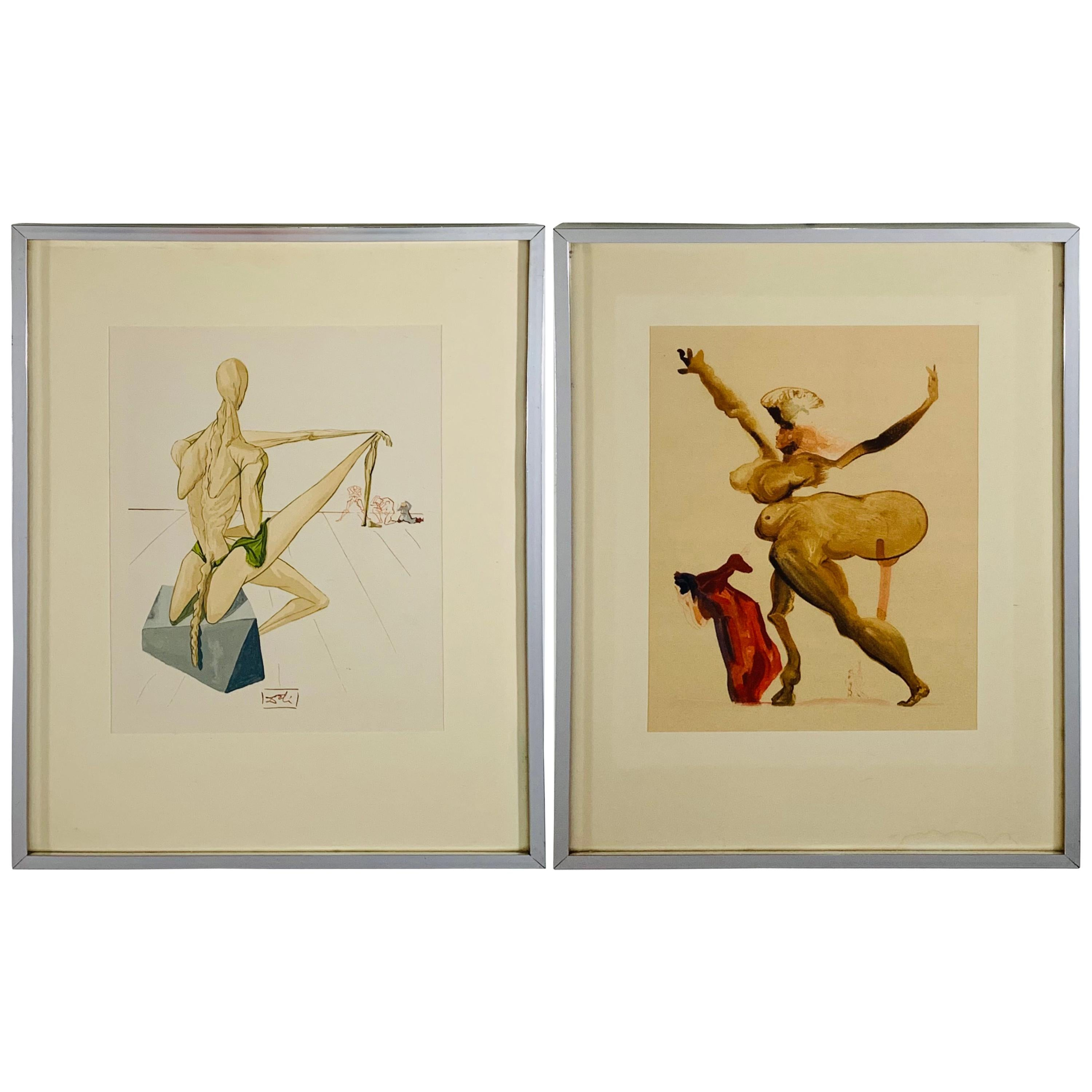 Salvador Dali The Divine Comedy Inferno Canto 5 and 33 Framed and Signed, 1960
