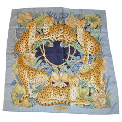 "Salvador Ferragamo Wonderfully Elegant ""Tribe of Leopards"" Silk Jacquard Scarf"