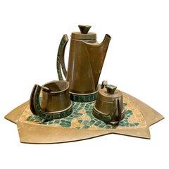 Salvador Teran 5 Piece Tea Coffee Service Set Brass & Mosaic Stone 1960s Mexico