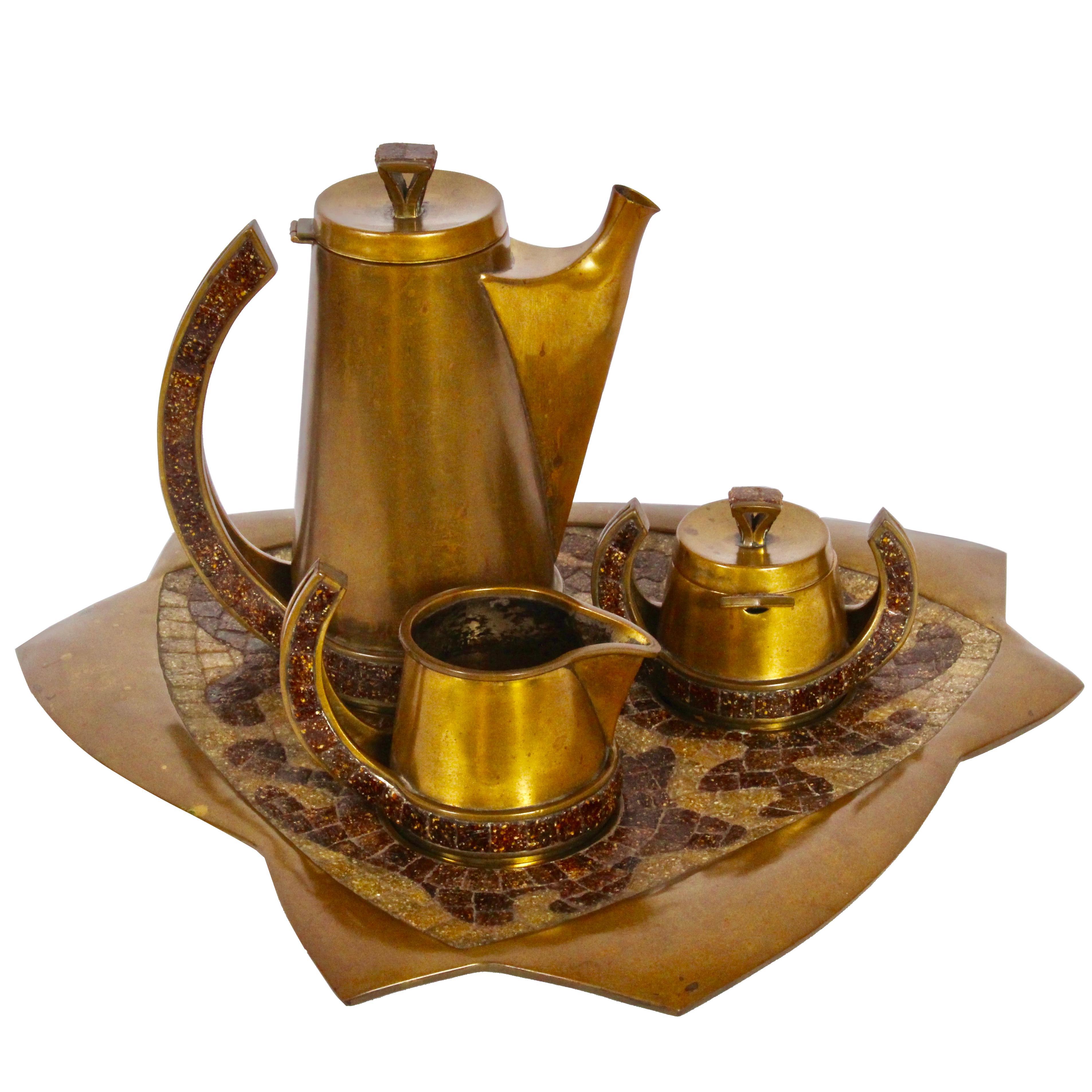 Salvador Teran Brass & Copper Terrazzo 7 Piece Tea Service, 1950s