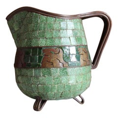 Salvador Teran Mosaic and Brass Pitcher
