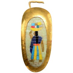 Salvador Teran Mosaic Colorful Plaque in Brass and Tile Wall Art Mexico, 1950s