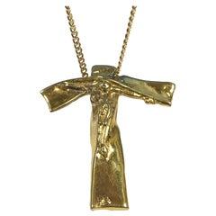 Salvadore Dali 1972 Vermeil Cross Crucifix Pendant Necklace
