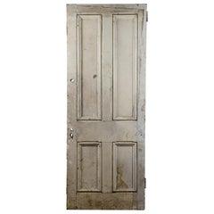 Salvaged 4 Panel Interior Pine Door, 20th Century