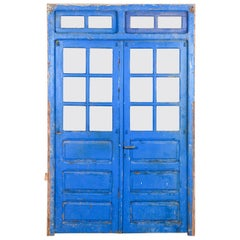 Salvaged Blue Moroccan Double Doors, 20th Century