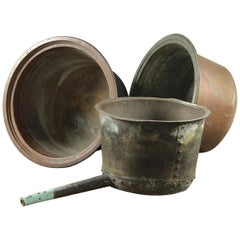 Salvaged Copper Coppers / Planters, 20th Century