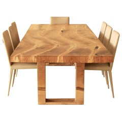 Salvaged English Oak Dining Table by Jonathan Field with Inset Live Edge