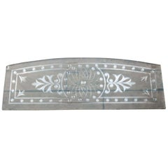 Salvaged Etched Glass Panel with Arched Top, 20th Century