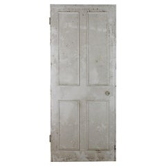 Salvaged Four Beaded Panel Pitch Pine Door, 20th Century