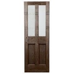 Salvaged Glazed Victorian Pine Door, 20th Century