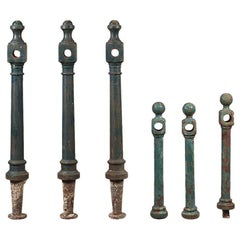 Salvaged Green Metal Bollards / Posts, 20th Century