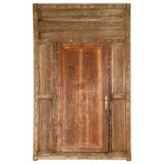 Salvaged Hand Carved Moroccan Door in Frame, 20th Century
