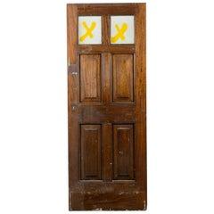 Salvaged Hardwood Glazed 6 Panel Door, 20th Century