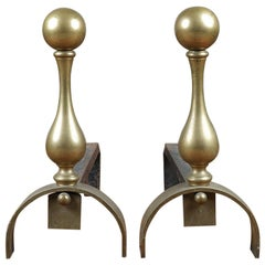 Salvaged Iron and Brass Ball Top Fire Dogs, 20th Century