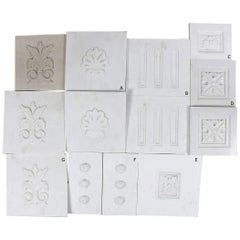Salvaged Marble Plaques with Carved Motifs, 20th Century