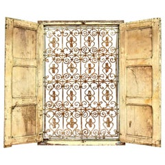 Salvaged Moroccan Wood and Metal Window, 20th Century