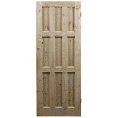Salvaged Nine Panel Pine Door, 20th Century