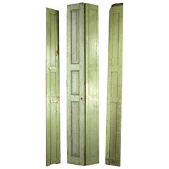 Salvaged Old Georgian Green Wooden Shutters, 20th Century