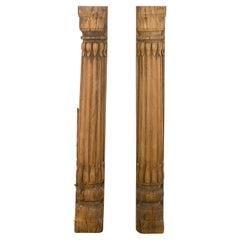 Salvaged Old Wooden Reeded Half Pillars, 20th Century