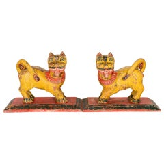 Salvaged Painted Indian Lions, 20th Century