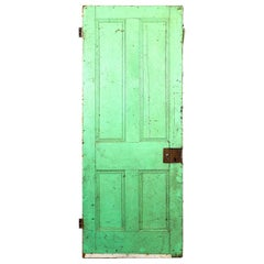 Salvaged Painted Pine Door with 4 Panels, 20th Century