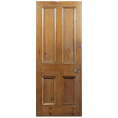 Salvaged Pine Four Panelled Old Door, 20th Century