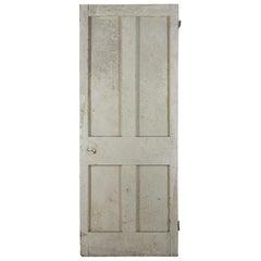 Salvaged Pine Four Plain Panel Door, 20th Century