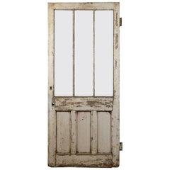 Salvaged Pitch Pine Glazed Door, 20th Century