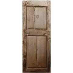 Salvaged Rustic Oak Two Panel Door, 20th Century