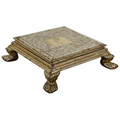 Salvaged Silver Plate Wooden Stand/Bajot, 20th Century