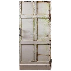 Salvaged Six Panel Pine Thick Door, 20th Century
