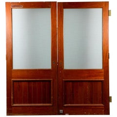 Salvaged Teak Glazed Double Doors, 20th Century