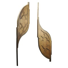 Salvaged Teardrop Gothic Oak Carved Panels, 20th Century