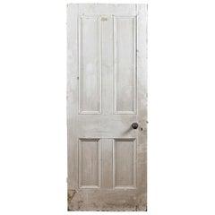 Salvaged Victorian Pine Four Panel Door, 20th Century
