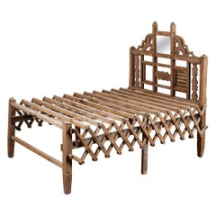 Salvaged Vintage Teak Folding Day Bed, 20th Century