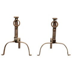 Salvaged Wrought Iron Ring Fire Dogs, 20th Century