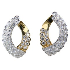 Salvani Gold and Diamond Hoops