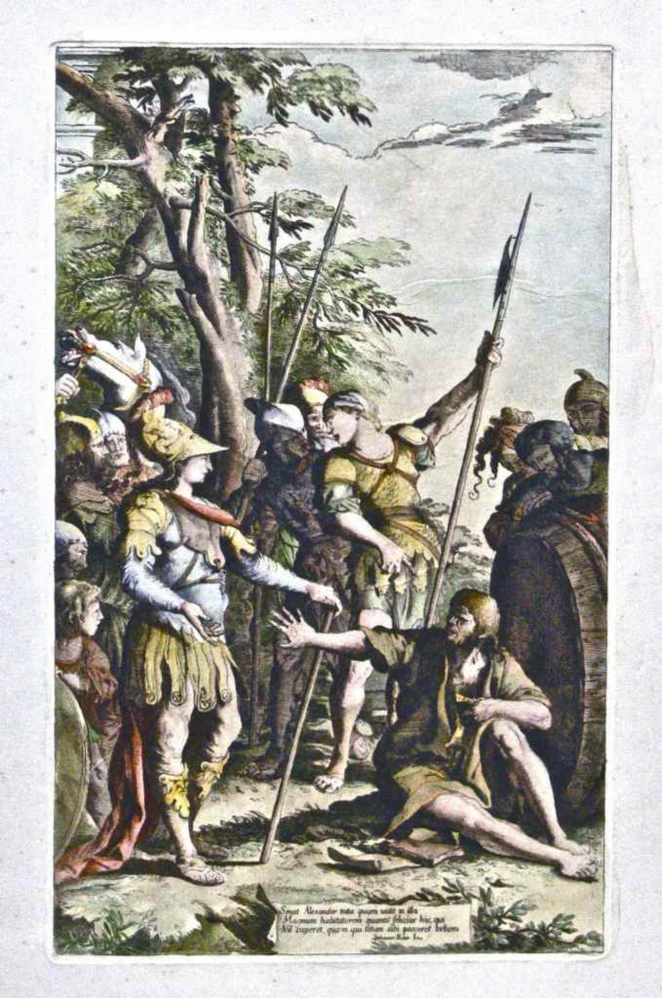 Saint Alexander - Original Etching by Salvator Rosa - Mid 17th Century