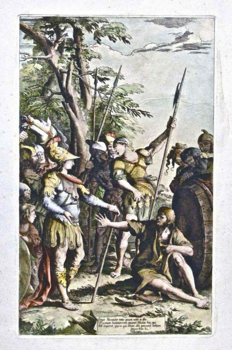 """Saint Alexander is an original etching hand-watercolored, Image Dim: cm 44.5x27, Sheet Dim:cm 70x50  Interesting Artist's Proof, signed on plate lower into the cartouche  with the capture: """"Sensit Alexander testa quum uidit in illa Magnum"""