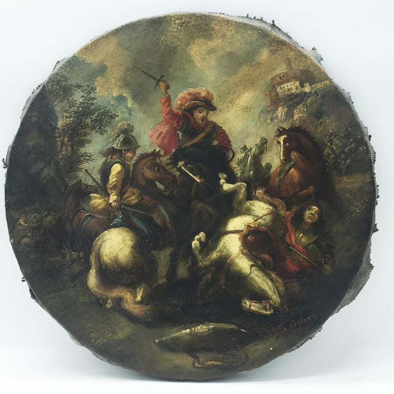 CAVALRY BATTLE - Italian figurative oil on canvas round painting, S. Alfano - Painting by Salvatore Alfano