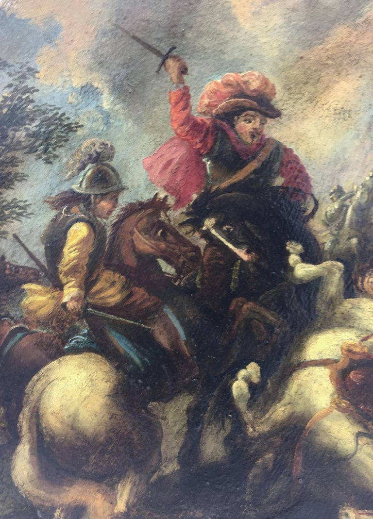 CAVALRY BATTLE - Italian figurative oil on canvas round painting, S. Alfano - Old Masters Painting by Salvatore Alfano