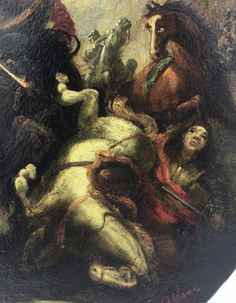 CAVALRY BATTLE - Italian figurative oil on canvas round painting, S. Alfano - Black Figurative Painting by Salvatore Alfano