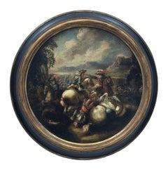 CAVALRY BATTLE - Italian figurative oil on canvas round painting, S. Alfano