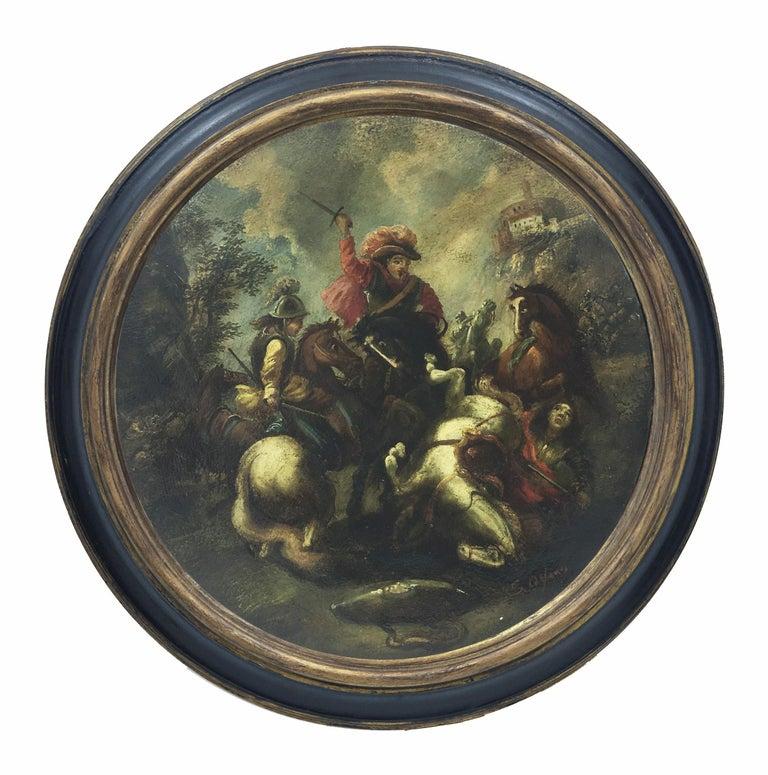 Salvatore Alfano Figurative Painting - CAVALRY BATTLE - Italian figurative oil on canvas round painting, S. Alfano