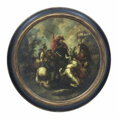 CAVALRY BATTLE - Neapolitan School- Italian Figurative Oil on canvas round paint