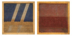 Pair of Untitled Paintings - Colored Jute by Salvatore Emblema - 1978/79