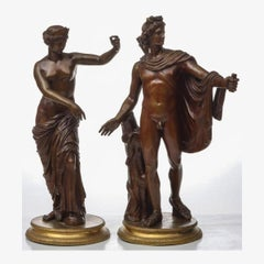 A Fine Pair of Italian Patinated Bronze Sculptures by Salvatore Errico
