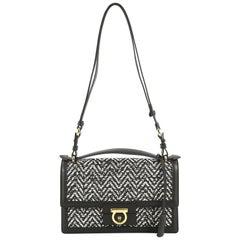 Salvatore Ferragamo Aileen Shoulder Bag Woven Leather Medium